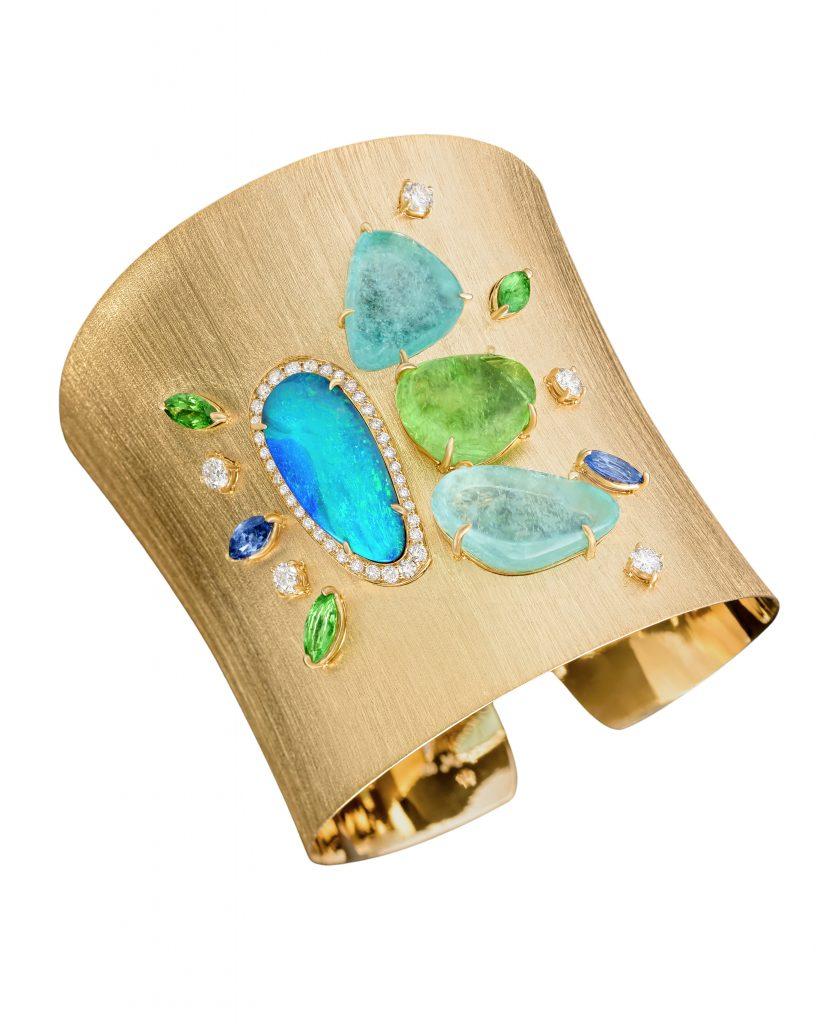 Margot-Mckinney-gold-gemstone-colourful-cuff-bangle
