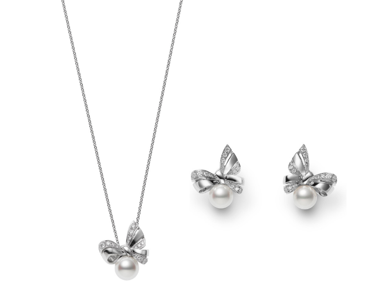 mikimoto diamond earrings and necklace
