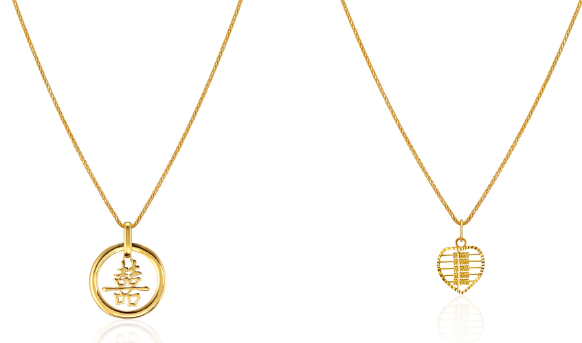 From L to R: Double Happiness pendant; Love Abacus pendant, both from Wedding collection, POH HENG